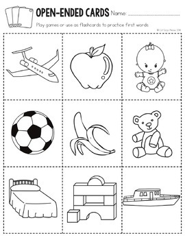First Words No Prep: Early Vocabulary (nouns, body, clothes, etc.)