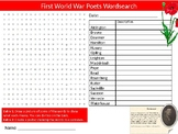 First World War Poets Wordsearch Sheet Activity Keywords Poetry Literature