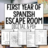 First Year Spanish Novice Break Out Room Escape Activity back to school