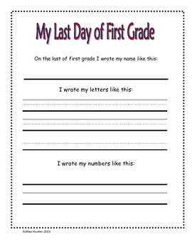 First and Last Day Writing Sample for a Memory Book