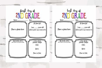 First and Last Day of 2nd Grade Activity Sheet, Back to school & End of the year