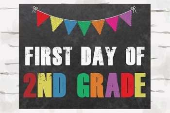 First and Last Day of 2nd grade Chalkboard sign, 8x10 jpg and pdf