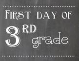 First and Last Day of 3rd Grade Chalkboard Sign