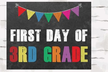 First and Last Day of 3rd Grade Chalkboard sign, 8x10 jpg and pdf