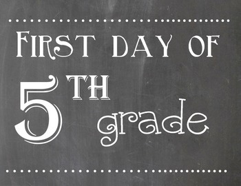 First and Last Day of 5th Grade Chalkboard Sign