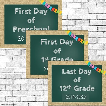 First and Last Day of School Signs {Chalkboard and Burlap} 2017-2018