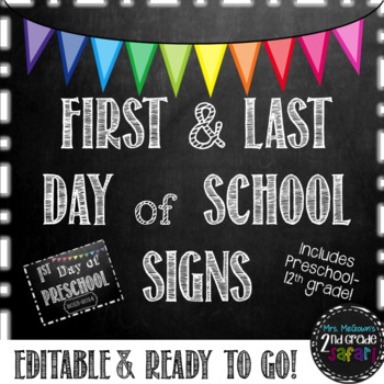 First And Last Day Of School Signs Chalkboard Edition 854041 on Lesson Plans Free Printables