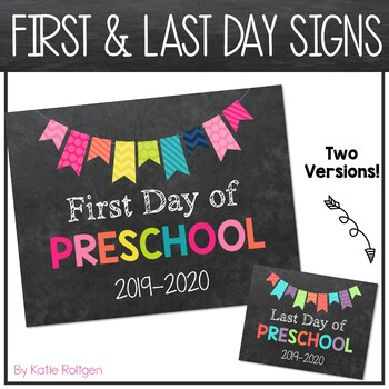 First and Last Day of School Signs {Rainbow}