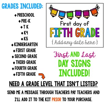 First and Last Day of School Signs with Editable Dates