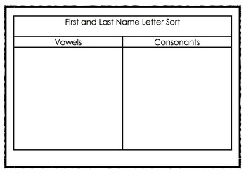 First and Last Name, Making Words, Vowel and Consonant Sort
