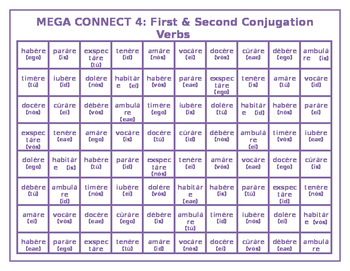 First and Second Conjugation Latin verbs Mega Connect 4 game