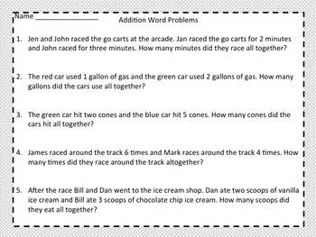 First and Second Grade Addition - Race to Win