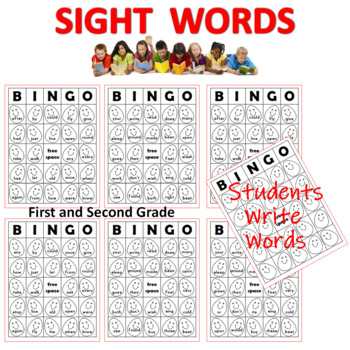Dolch Sight Words Bingo Sheets First and Second Grade