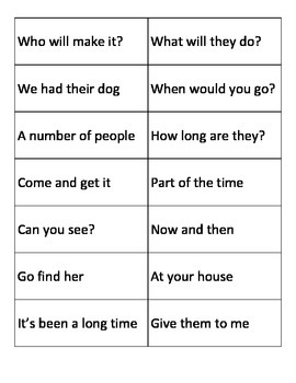 First and Second Grade High Frequency Word Phrase Cards