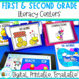 First and Second Grade Literacy Centers Bundle | Digital a