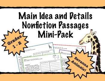 First Grade Main Idea and Details Nonfiction Comprehension - Savanna Animals