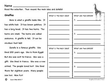 First Grade Main Idea and Details Nonfiction Comprehension - Savanna Animals