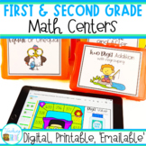 First and Second Grade Math Centers   Digital, Printable Games