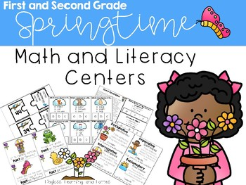 First and Second Grade Spring Math & Literacy Centers