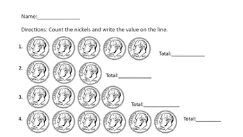 First and Second Money /Coin Reference Sheets Common Core