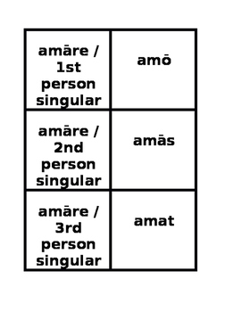 First and Second Conjugations Present Active Latin Verbs Concentration Games