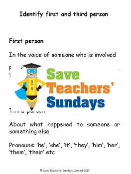 First and Third Person Worksheet / Activity and Explanation