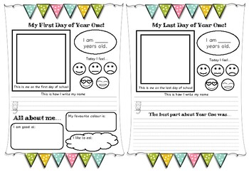 First and last day of school writing template