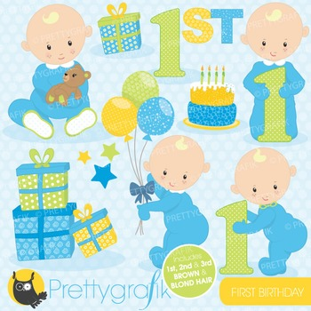 First birthday clipart commercial use, vector graphics, digital - CL658