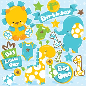 First birthday clipart commercial use, vector graphics, digital  - CL972