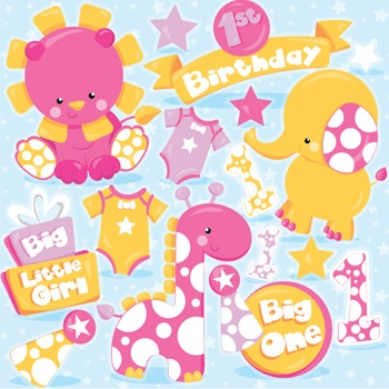 First birthday clipart commercial use, vector graphics, digital  - CL973