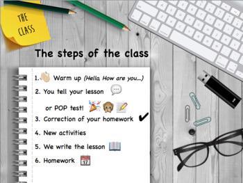 First class: presentation (rules, class, teacher, etc.)