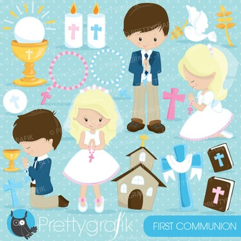 First communion clipart commercial use, vector graphics, digital - CL822