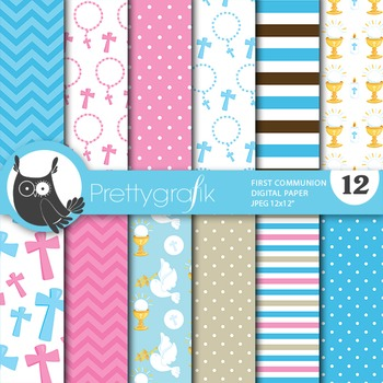 First communion digital paper, commercial use, scrapbook papers - PS705