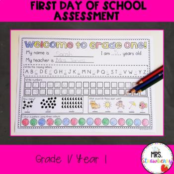 First day/ First Week Worksheet: Grade 1