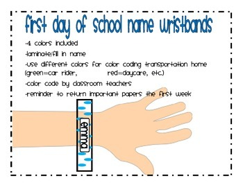 First Day of School Name Wristbands and Reminders