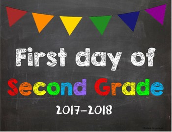 First day of 2nd Grade Poster/Sign 2017-2018 date