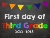 First day of 3rd Grade Poster/Sign 2019-2020 date