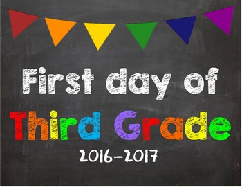 First day of 3rd Grade Poster/Sign 2016-2017 date