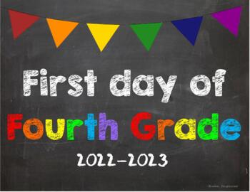 First day of 4th Grade Poster/Sign 2019-2020 date
