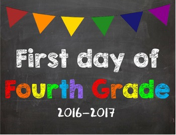 First day of 4th Grade Poster/Sign 2016-2017 date
