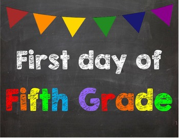 First day of 5th Grade Poster/Sign