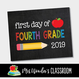 First day of Fourth Grade 2019 printable sign