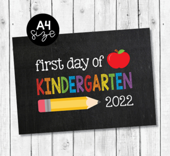 image about Printable First Day of Kindergarten Sign titled To start with working day of Kindergarten 2019 chalkboard printable indication