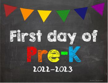 First day of Pre K Poster/Sign 2019-2020 date
