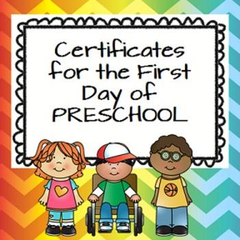 First day of Preschool Certificates