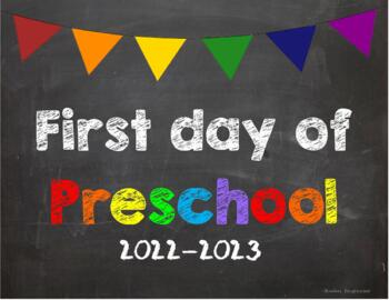 First day of Preschool Poster/Sign 2019-2020 date
