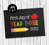 First day of Third Grade 2019 chalkboard printable sign