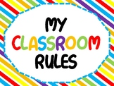 Printable Classroom rules striped
