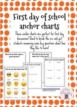 First day of school anchor charts