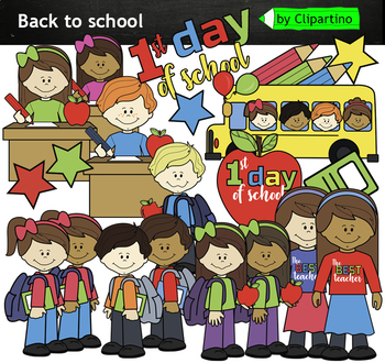 1f8af7fea First day of school clipart by Clipartino | Teachers Pay Teachers